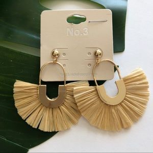 No. 3 Boho Raffia Fringe Earrings NWT